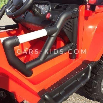 Электромобиль Jeep Wrangler 4WD красный (полный привод, резиновые колеса, кожаное кресло, пульт, музыка)